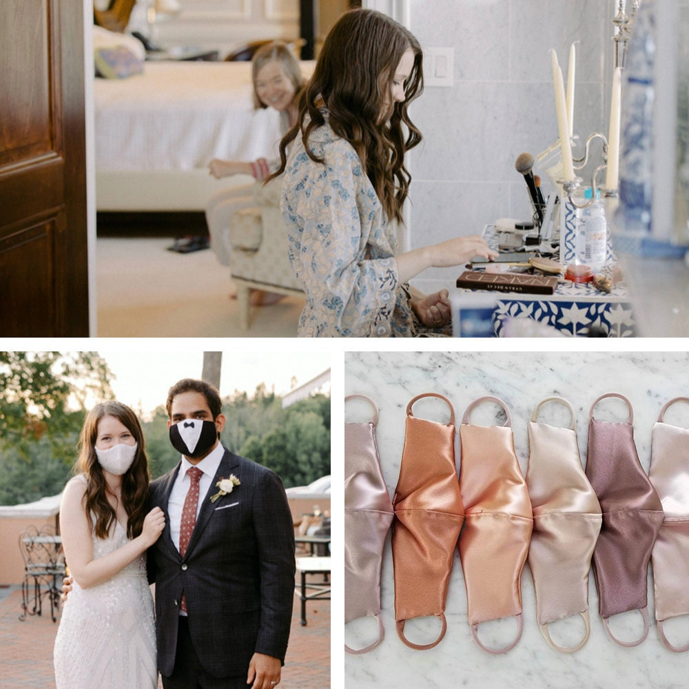 A collage of masks and robes that Megan chose for her wedding to Imran, available on Etsy.