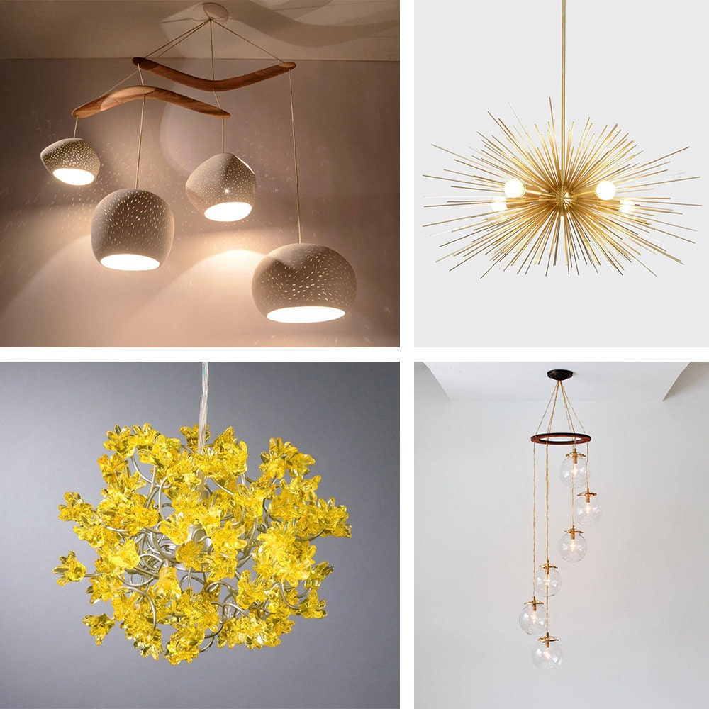 An assortment of chandelier styles available on Etsy