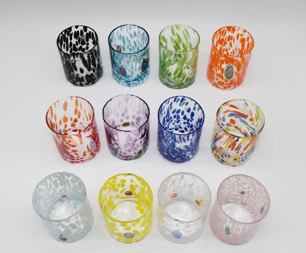 Colorful speckled murano glasses from Officine di Murano
