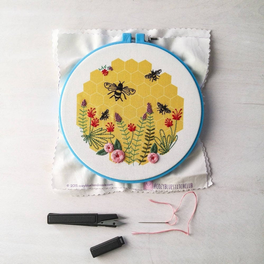 Bee embroidery from Etsy seller Cozy Blue