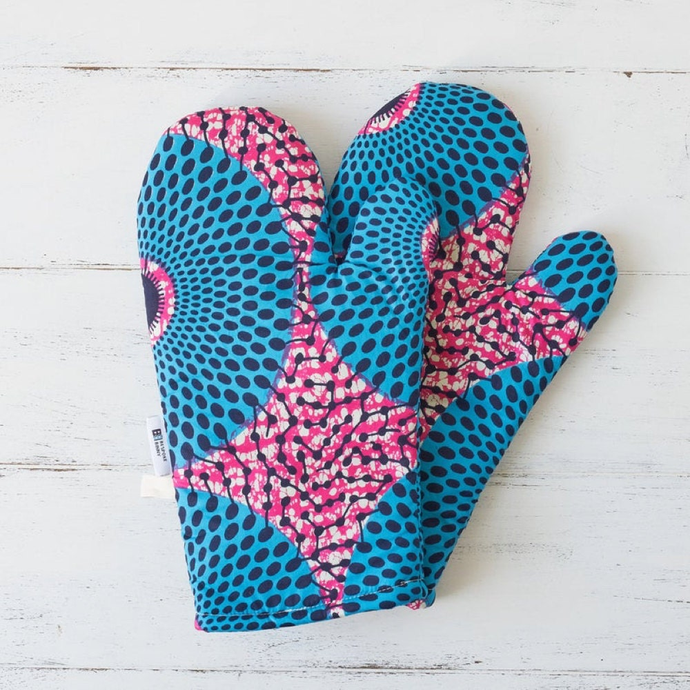 Pink and blue oven mitts from Bespoke Binny