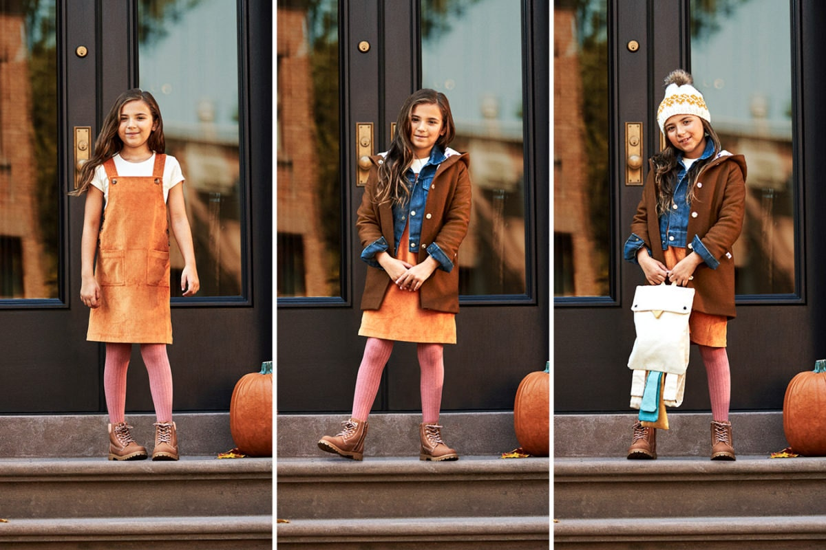 Three-image collage of a child wearing an increasingly layered fall look