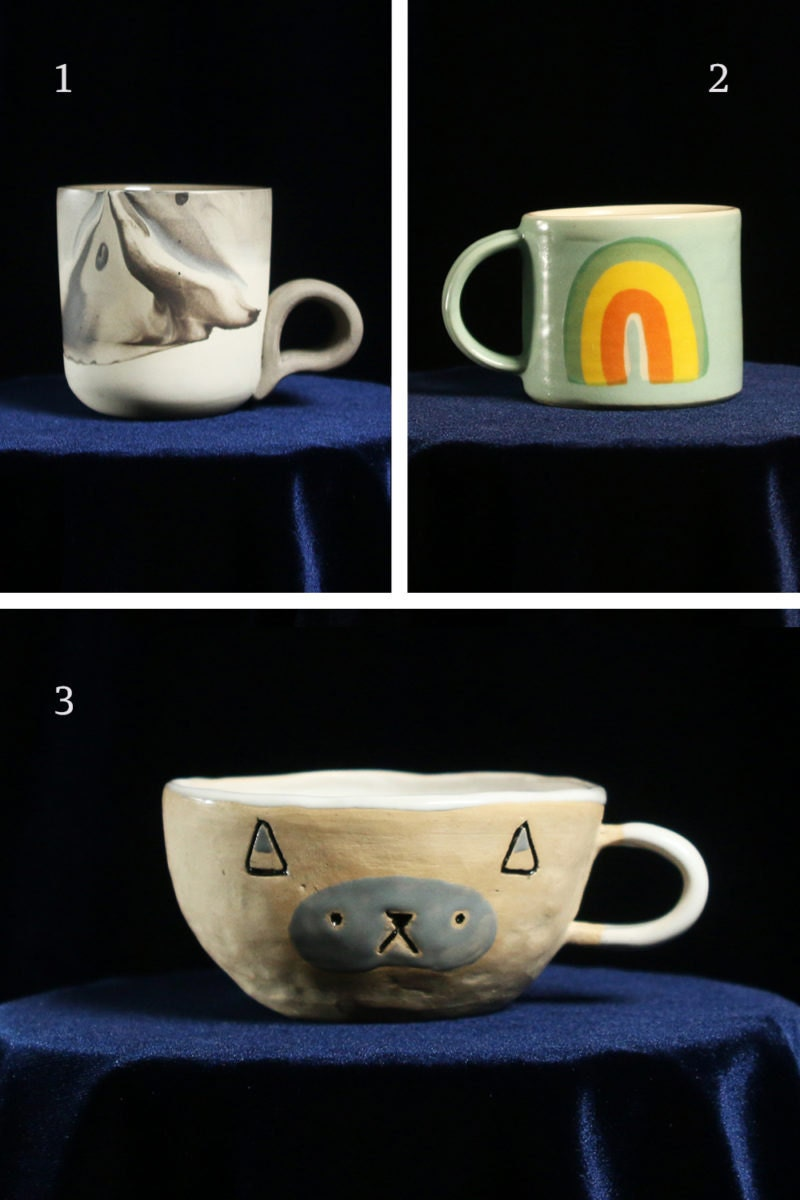 A collage of mugs for water signs, including a marbled mug for Scorpio, a rainbow mug for Pisces, and a cat mug for Cancer