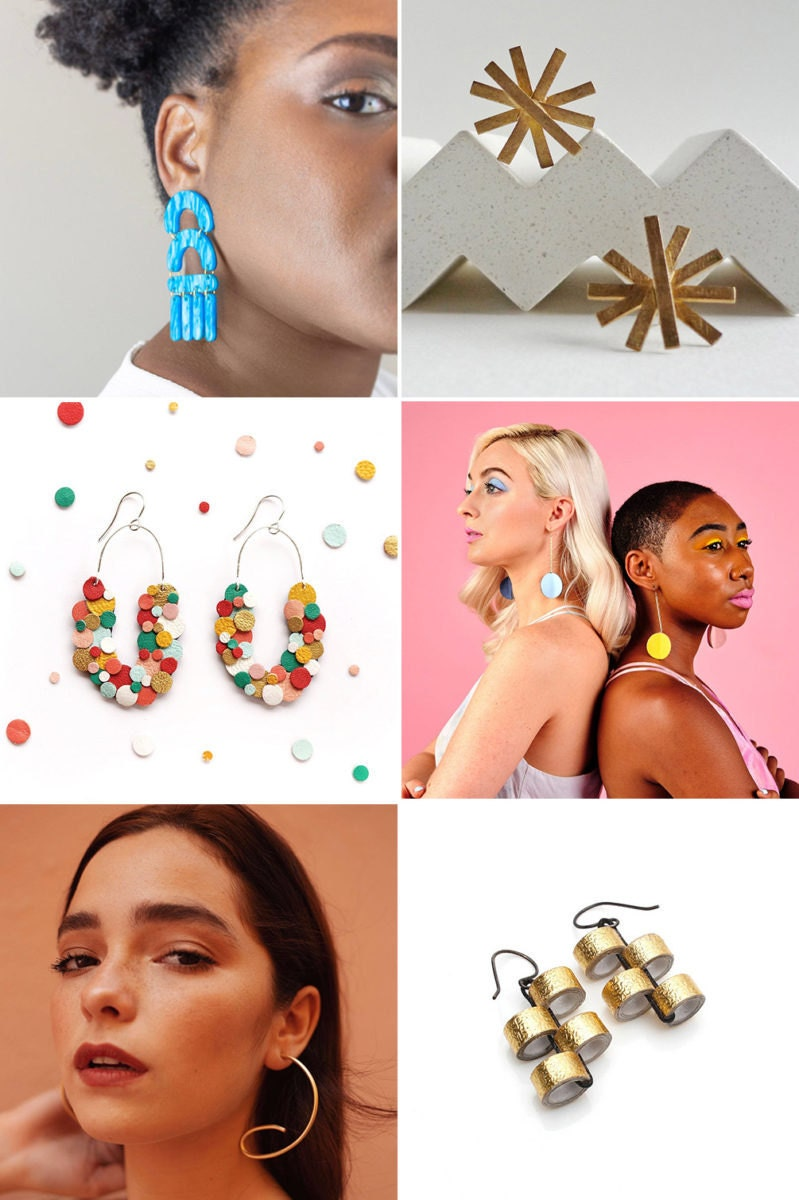 Six pairs of festive earrings made by Etsy sellers