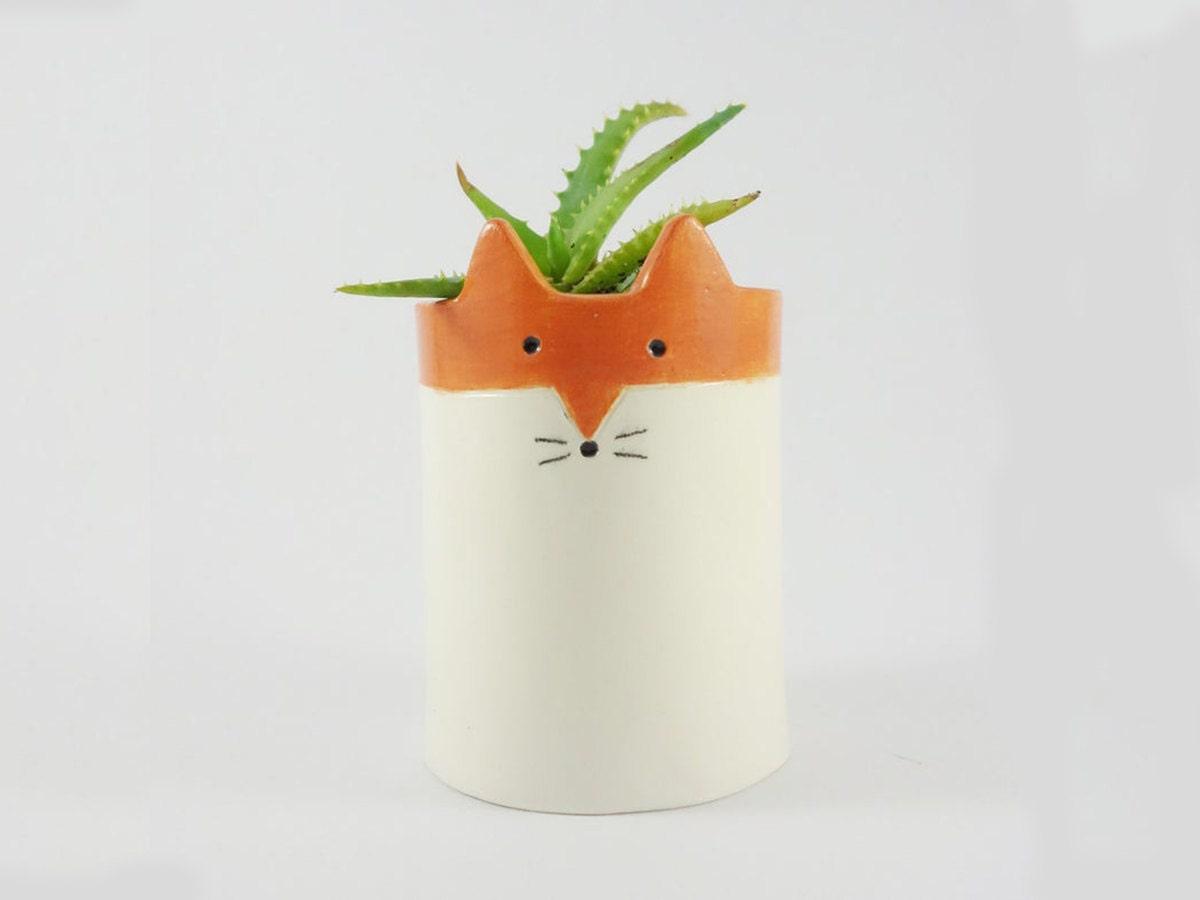 Ceramic fox pot from Minky Moo Ceramics on Etsy
