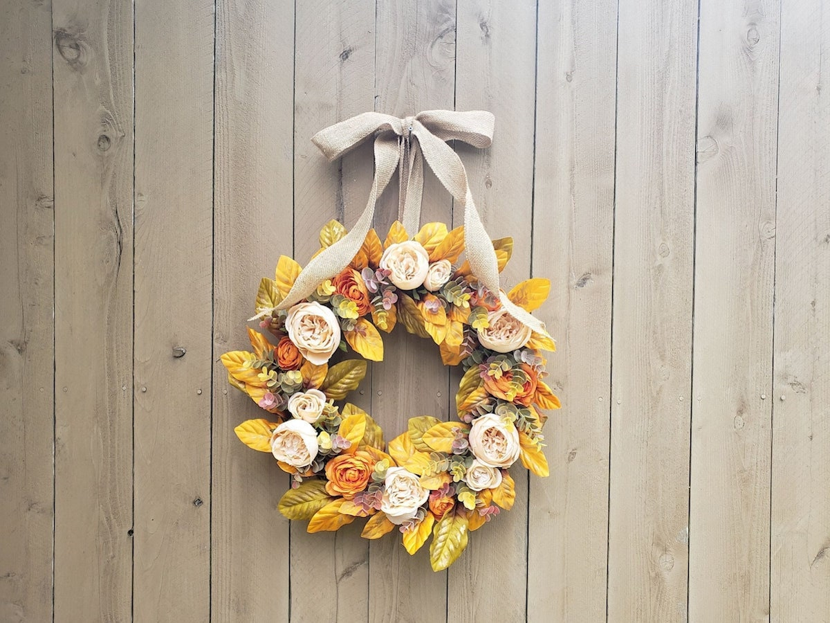 Yellow and orange fall wreath from Etsy