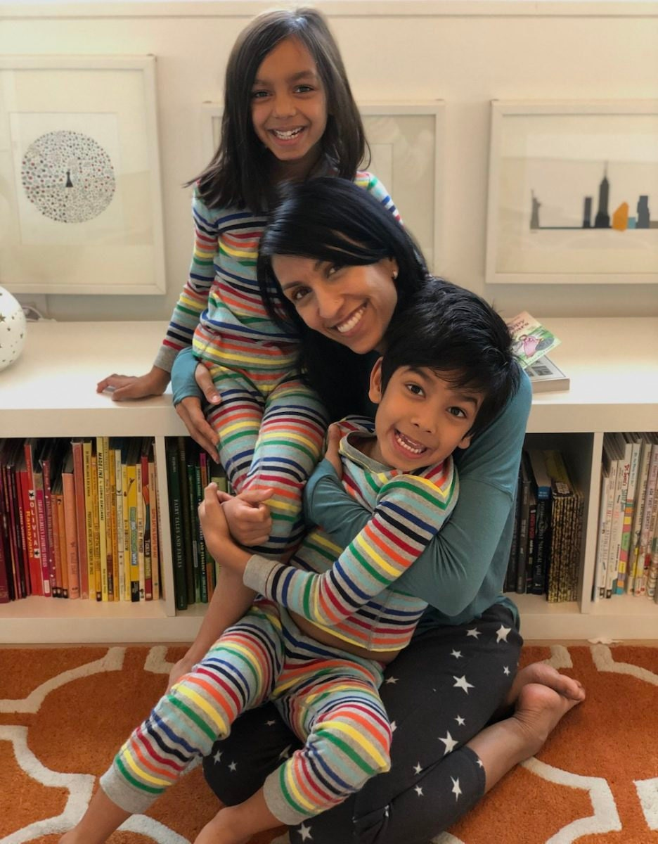 A portrait of Etsy's Chief Product Officer Kruti Patel Goyal and her twins