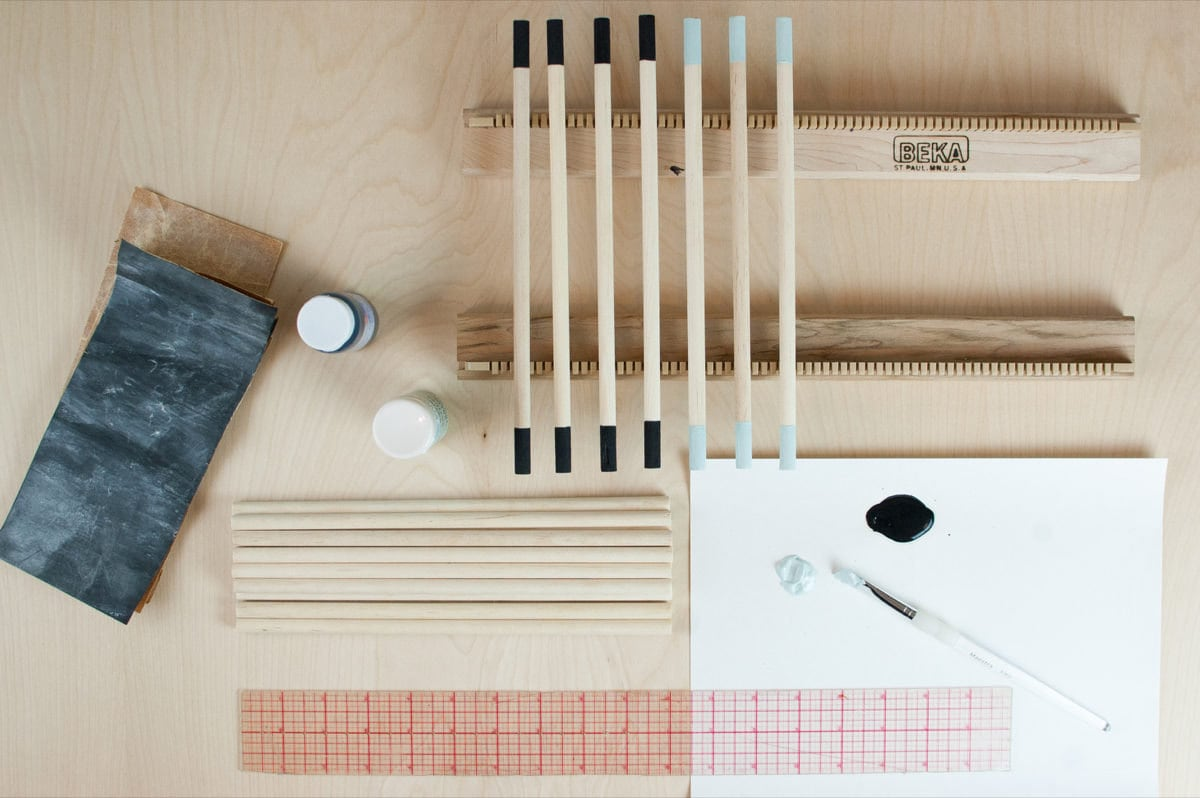 The various pieces of a weaving kit.