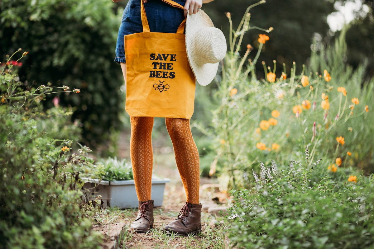 """""""Save The Bees"""" marigold tote bag from Nature Supply Co."""