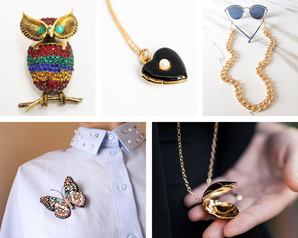 A collage of grandmillenial jewelry from Etsy