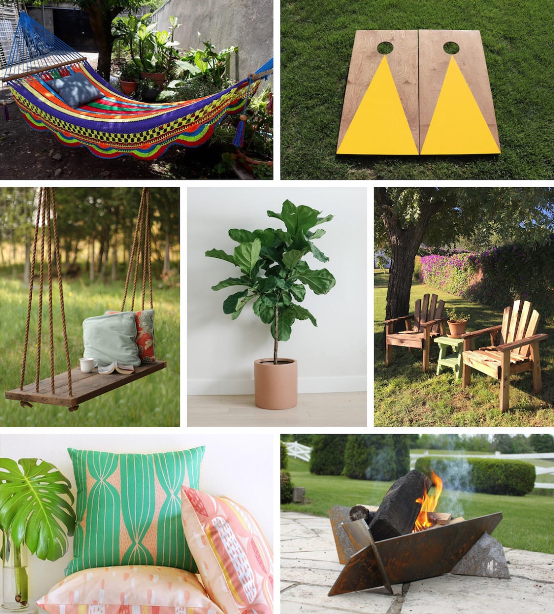 A collage of backyard finds from Etsy