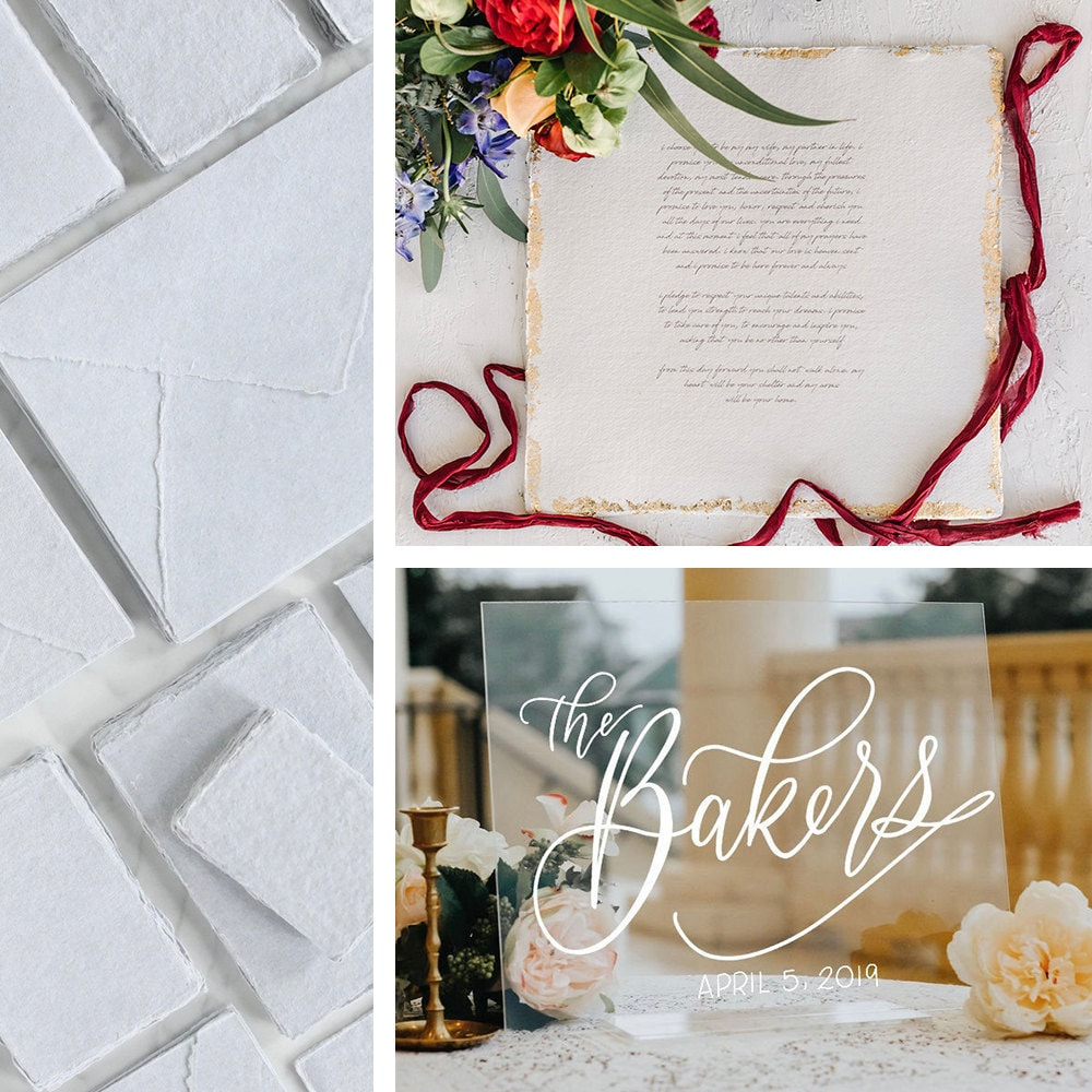 A collage of Etsy paper, signage, and wedding gifts