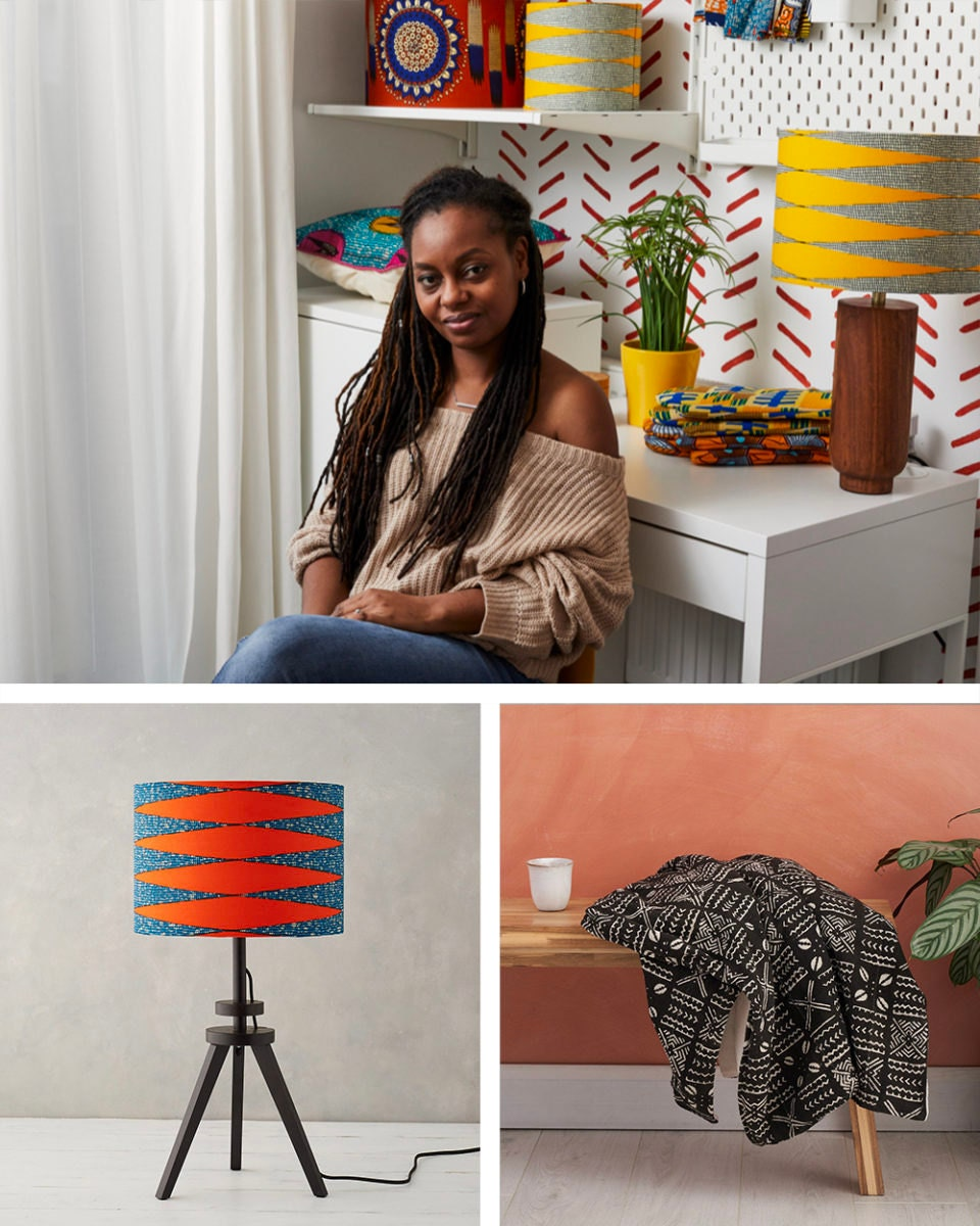 Portrait of home goods designer Natalie Manima collaged with a few of her designs crafted from African wax print fabrics and mud cloth.