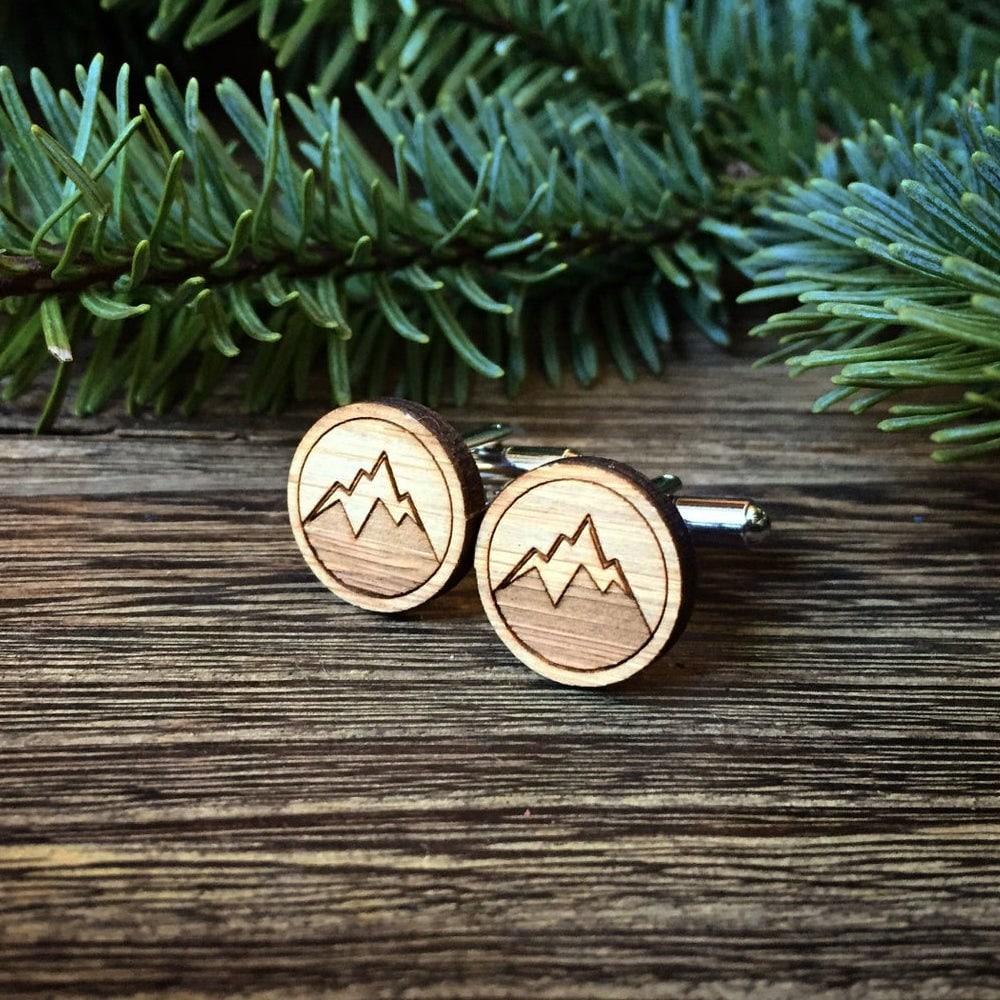 Mountain cufflinks groomsman gift from Cabin, on Etsy