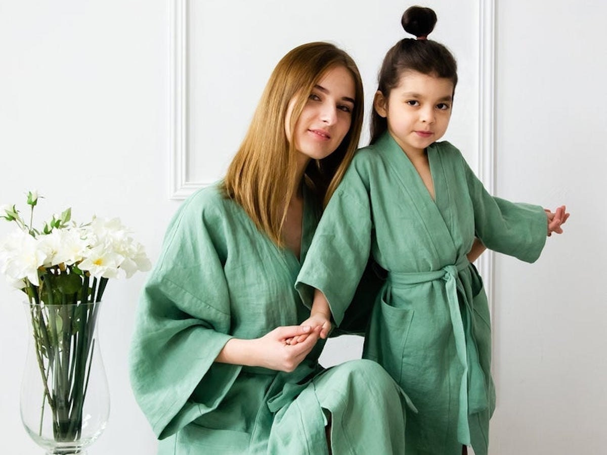 Coordinated linen robes from Bel Eco Flax