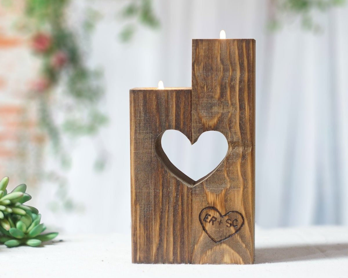 Personalized heart candle holder from GFT Woodcraft