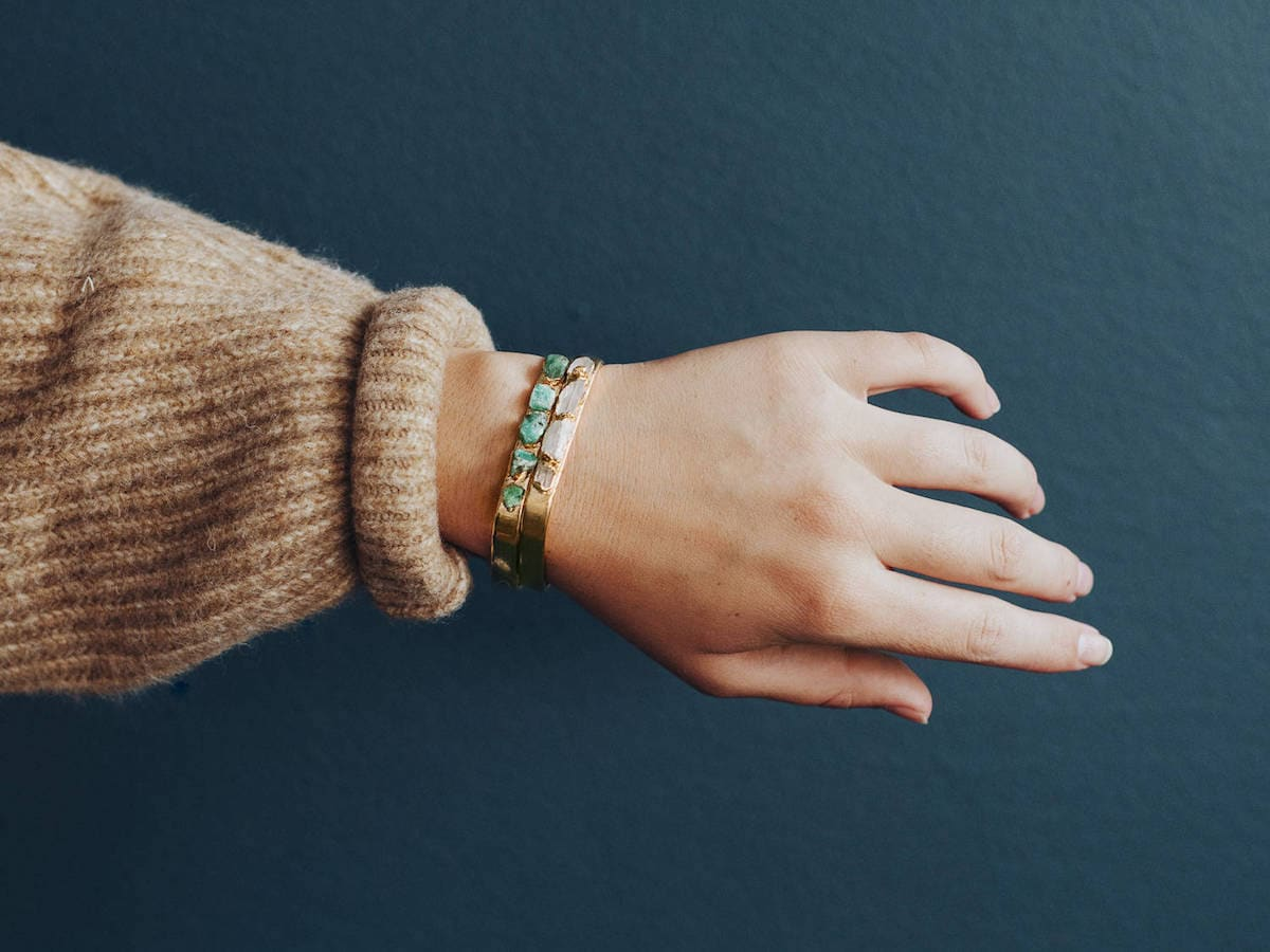 Two raw gemstone cuff bracelets from Dani Barbe