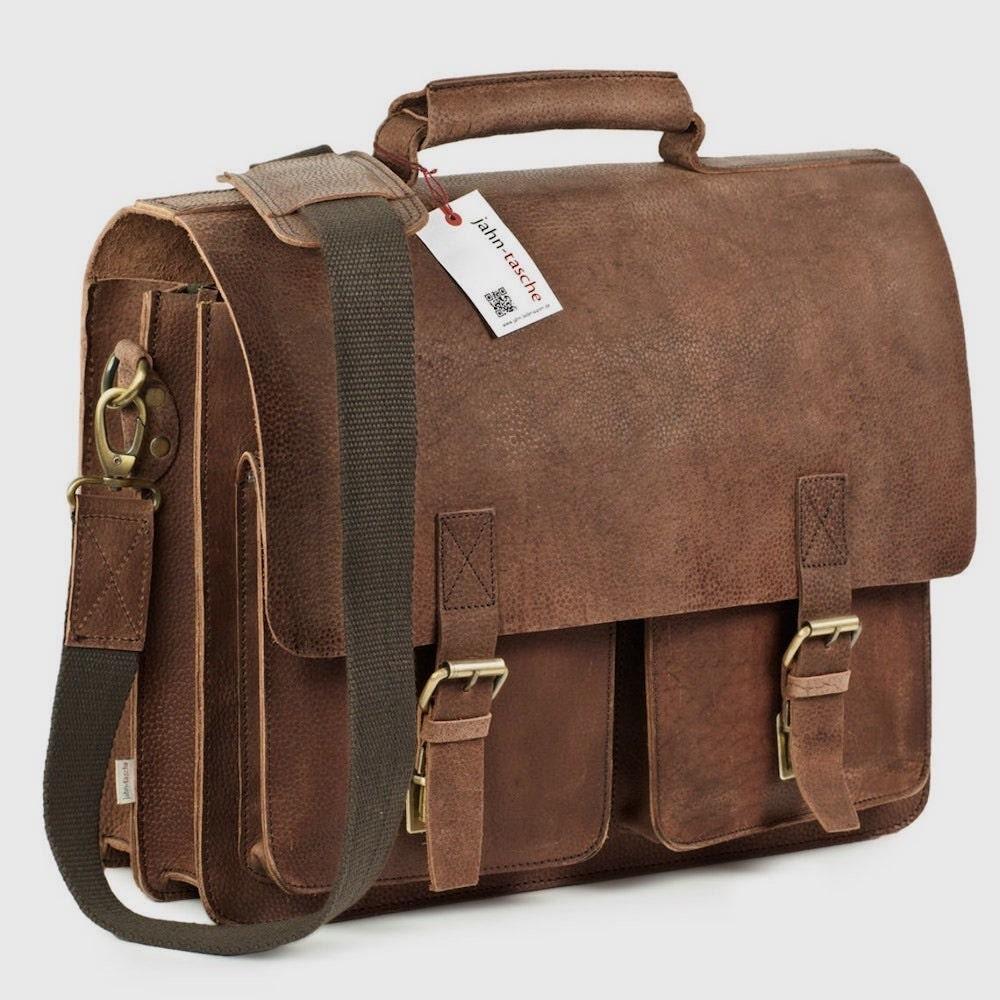 Large fall fashion leather briefcase from Jahn-Lederwaren