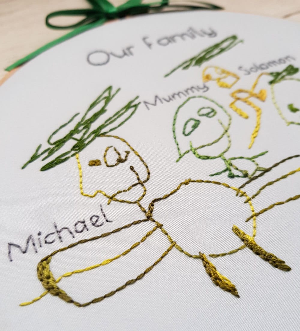 Detail on an embroidered child's drawing from Natalie Gaynor Designs