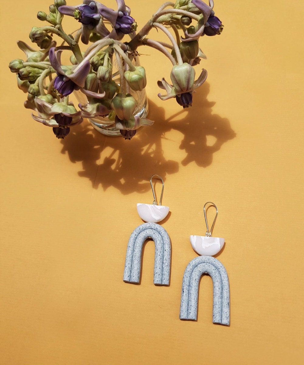 Marble abstract statement earrings from TSUNJA