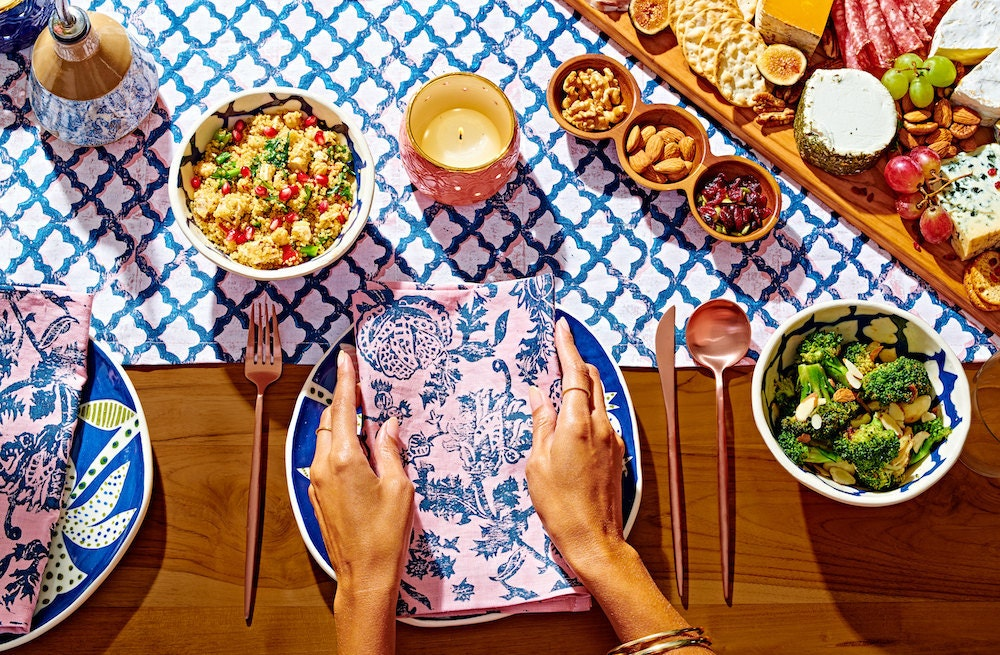 Screen-printed linen napkins and table runner from Julie Peach