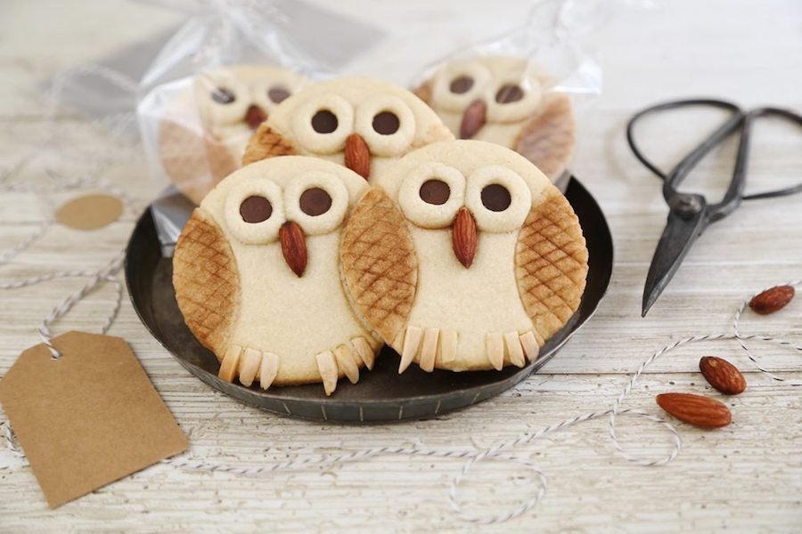 Completed butter cookie owls