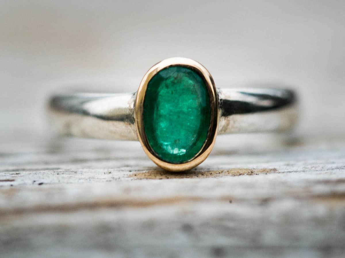Two-tone gold and silver emerald ring from Natural Rock Shop