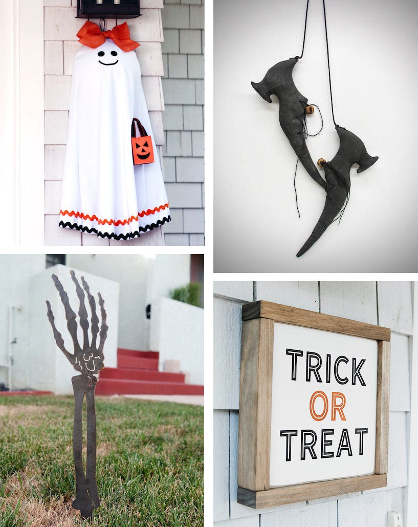 """Collage of four Halloween decor items: Hanging ghost from Ever Blooming Originals, primitive witch shoes from Cozy Expressions, wooden """"Trick or Treat"""" sign from Huckleberry Avenue, and steel skeleton arm lawn ornament from Haagmade"""