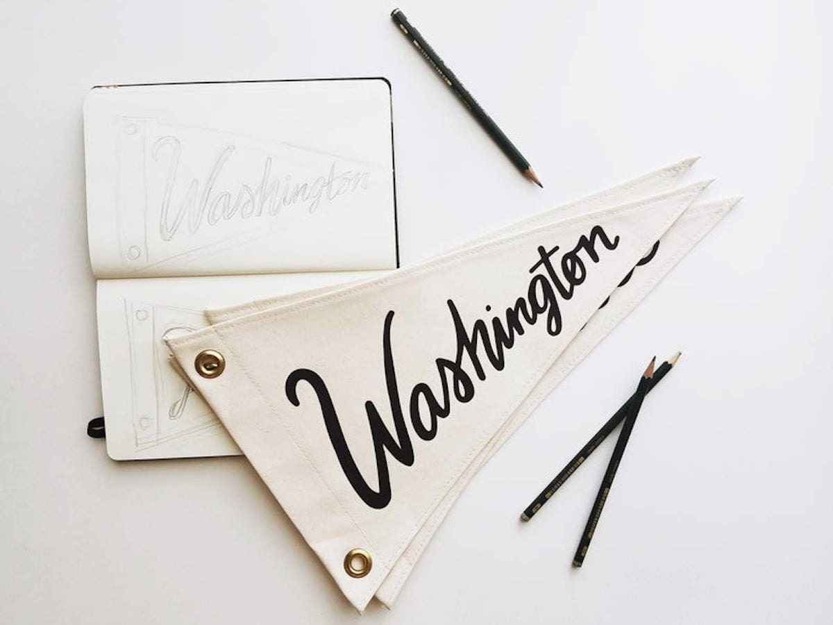 Custom pennant flag from Small Branches, on Etsy