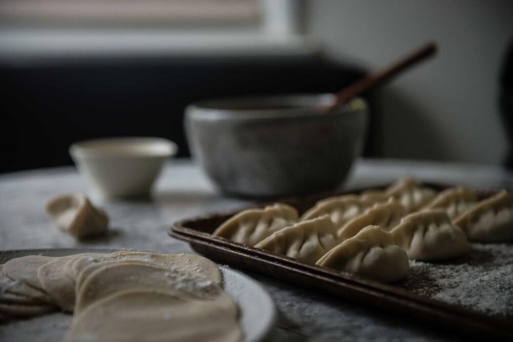 Dough that will become dumplings