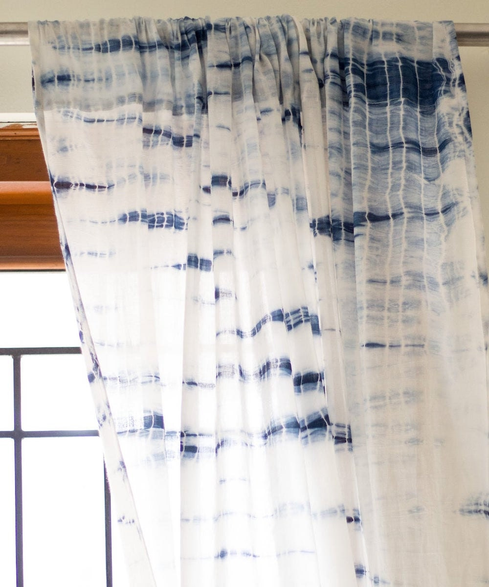 Shibori-dyed curtains from Etsy