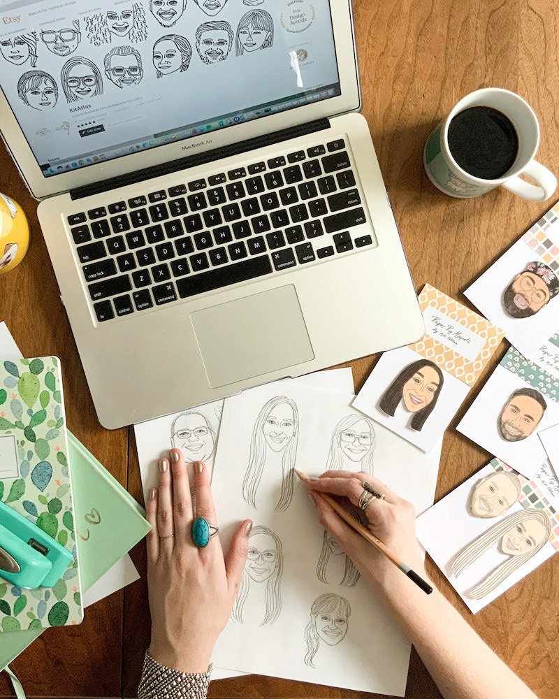 Brittney sketches portraits for personalized magnets
