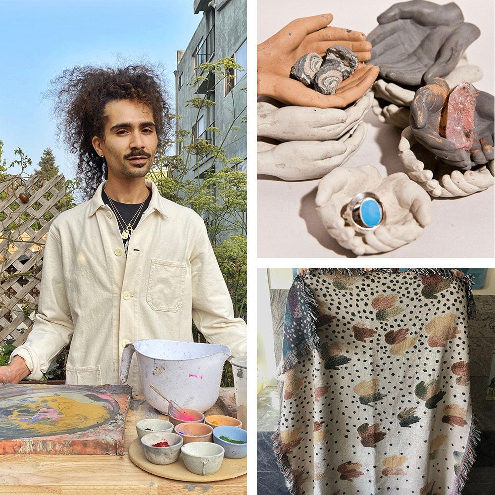 A collage featuring a portrait of home goods designer Rheal alongside some of their hand-shaped vessels and a colorful blanket.