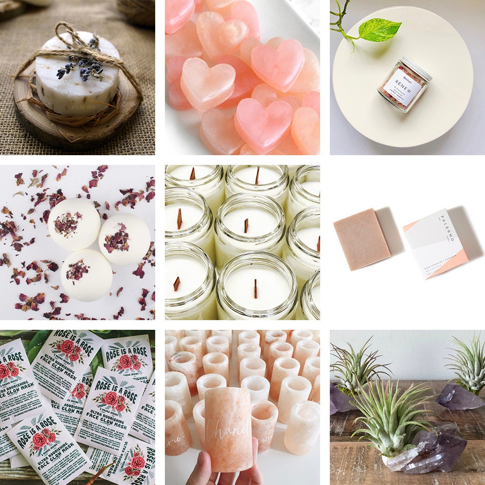 A collage of self-care themed favors available on Etsy