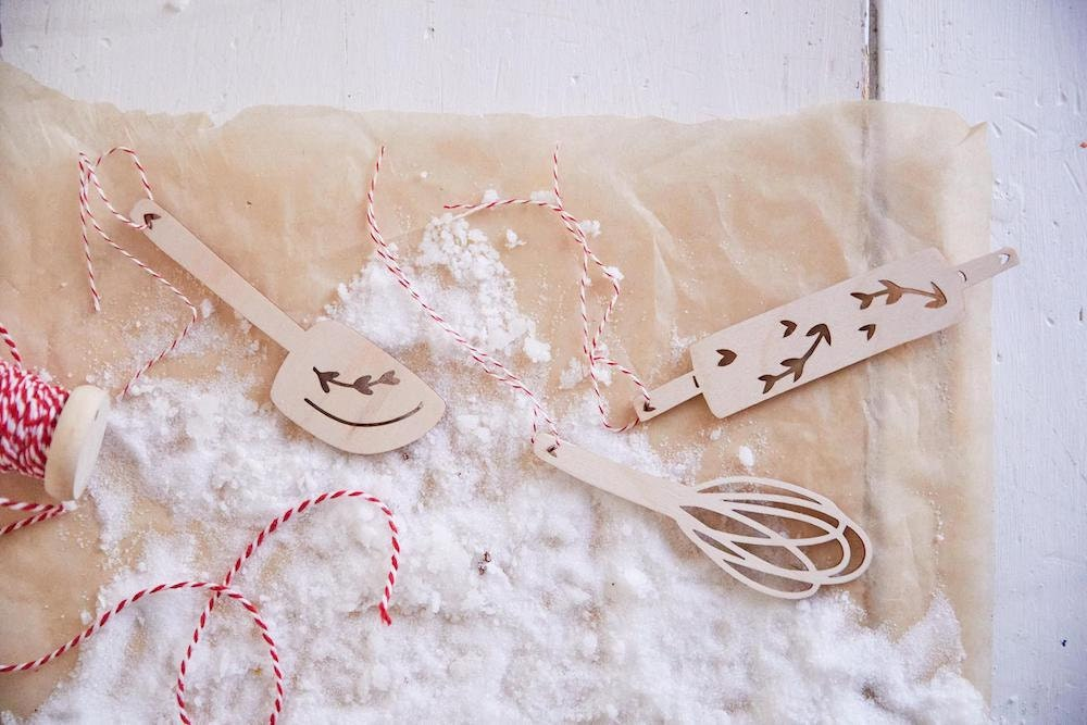 Half Baked Harvest x Etsy collection set of 3 laser-cut wooden baking ornaments from Light + Paper