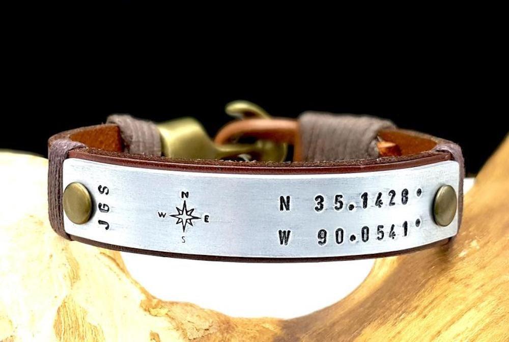 Personalized coordinates bracelet from Bracelethomme