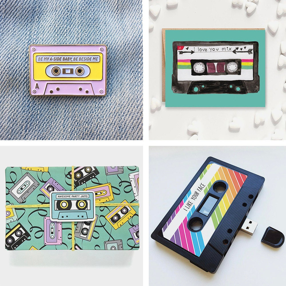 A collage of mixtape-themed gifts available on Etsy.
