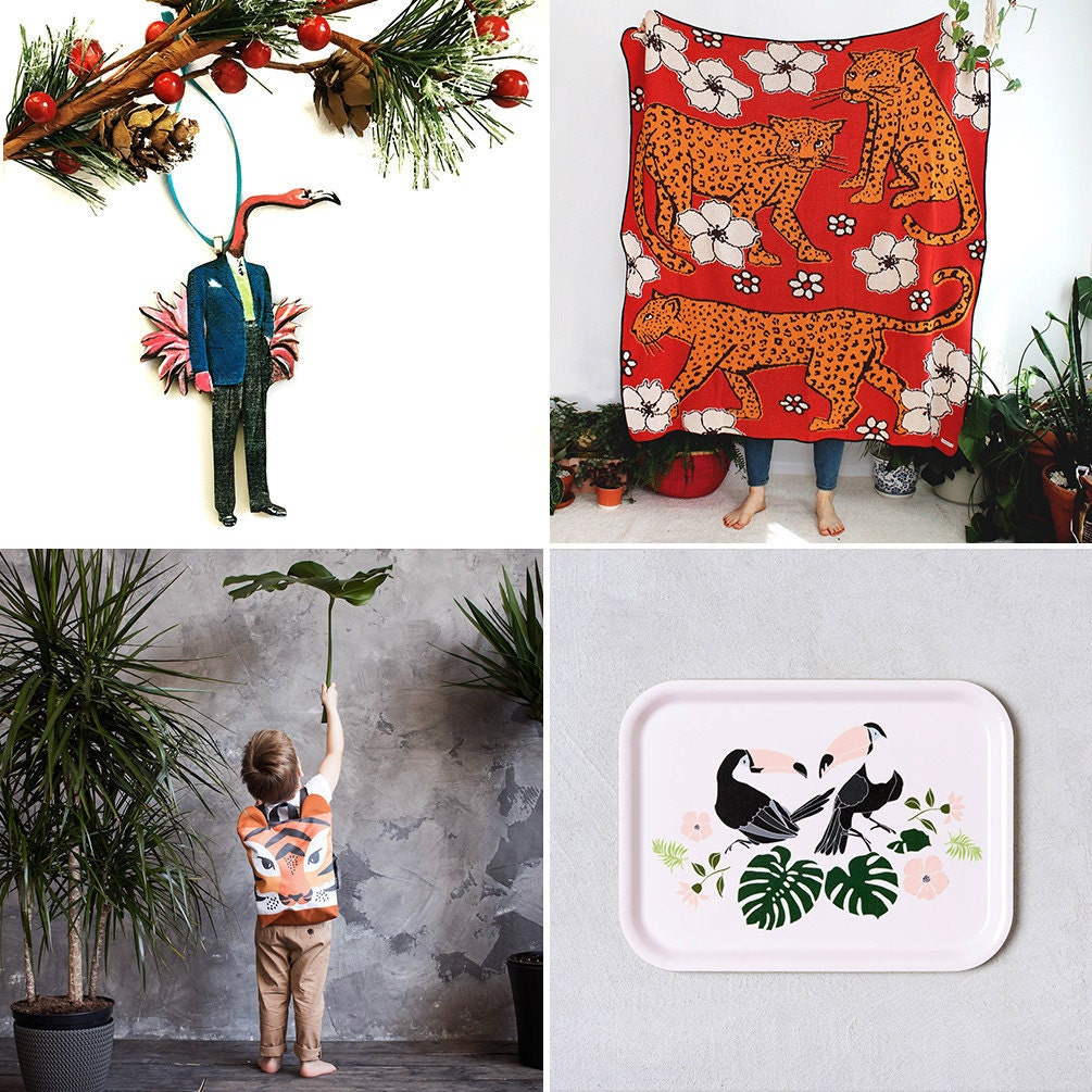 Collage of four animal-themed Etsy items: a flamingo ornament, a leopard throw blanket, a toucan serving tray, and a tiger backpack