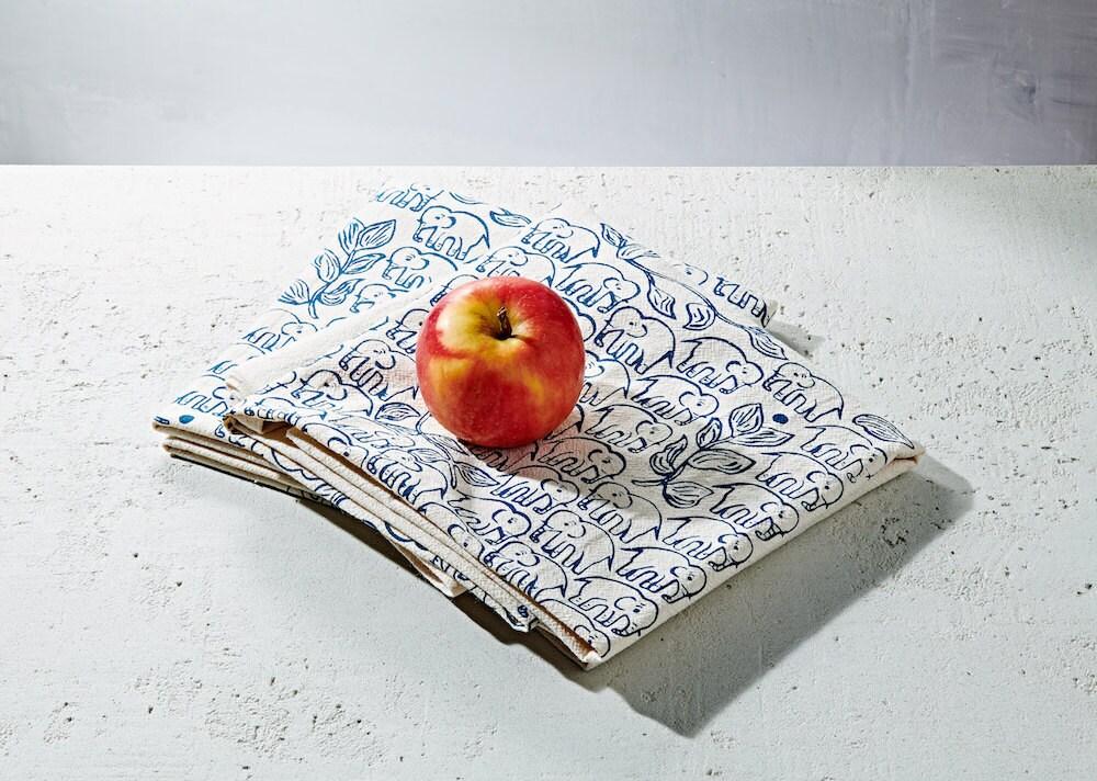 Elephant-print tea towels from Hearth and Harrow