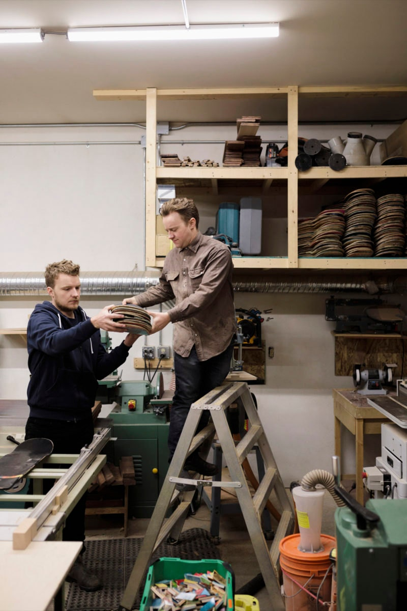 Brothers Adrian and Martinus work together in their Calgary, Canada woodshop