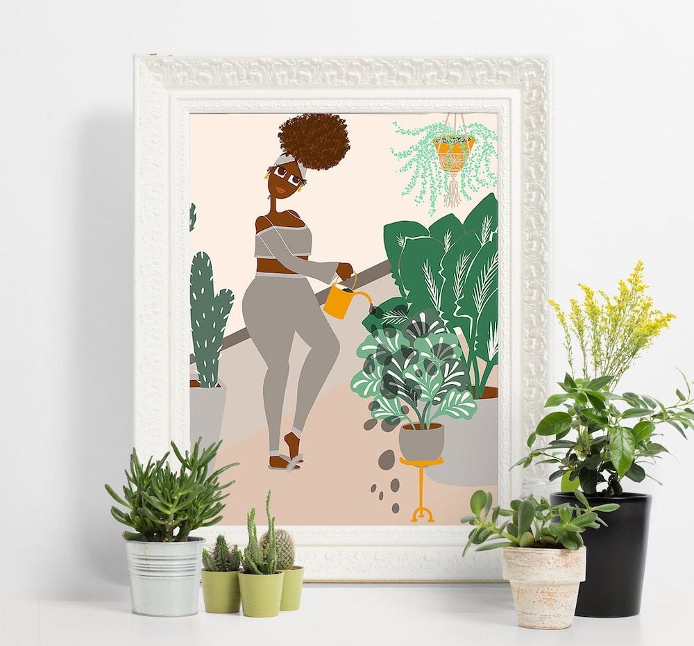 Watering Plants art print from Lovely Earthlings