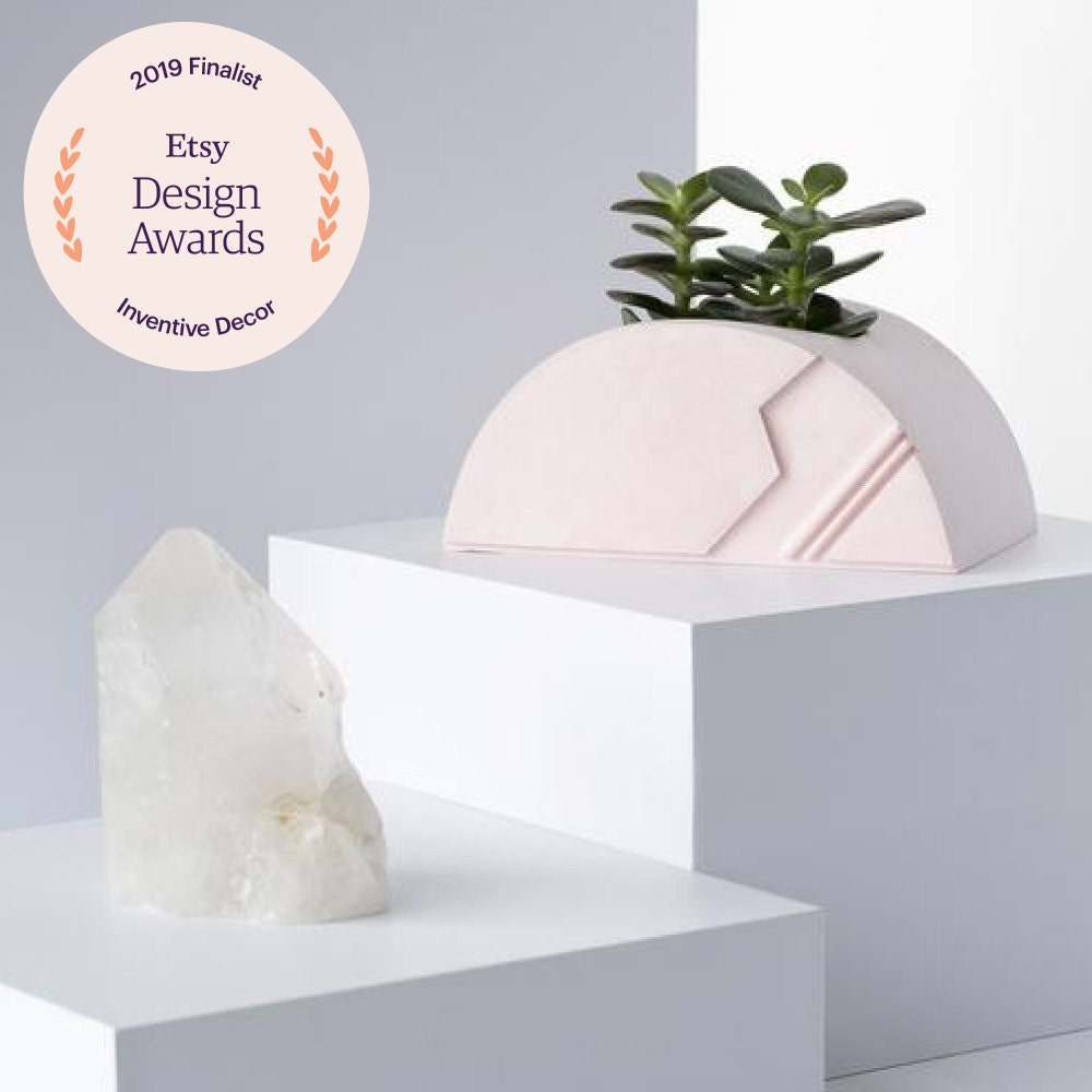 An architectural ceramic planter from Collage Crafting