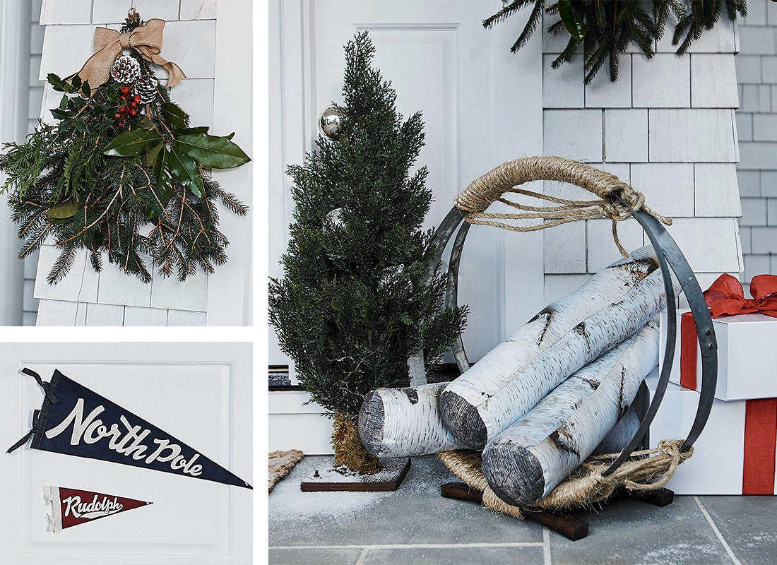 A collage of outdoor holiday decor items available on Etsy