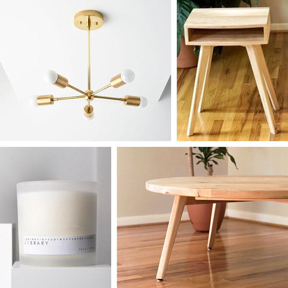 A collage of furniture, lighting, and candles the Real Simple Home, available to purchase on Etsy.