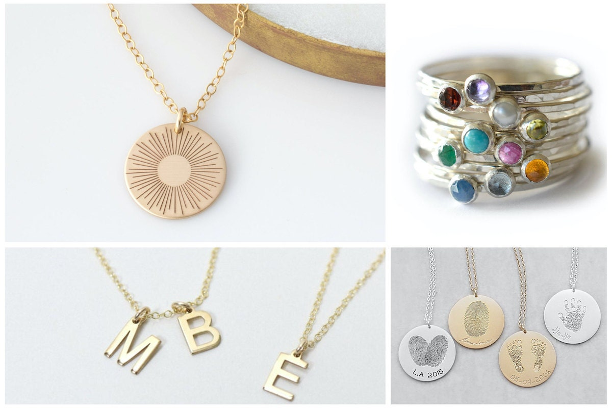 Custom jewelry gifts for Mother's Day, from Etsy