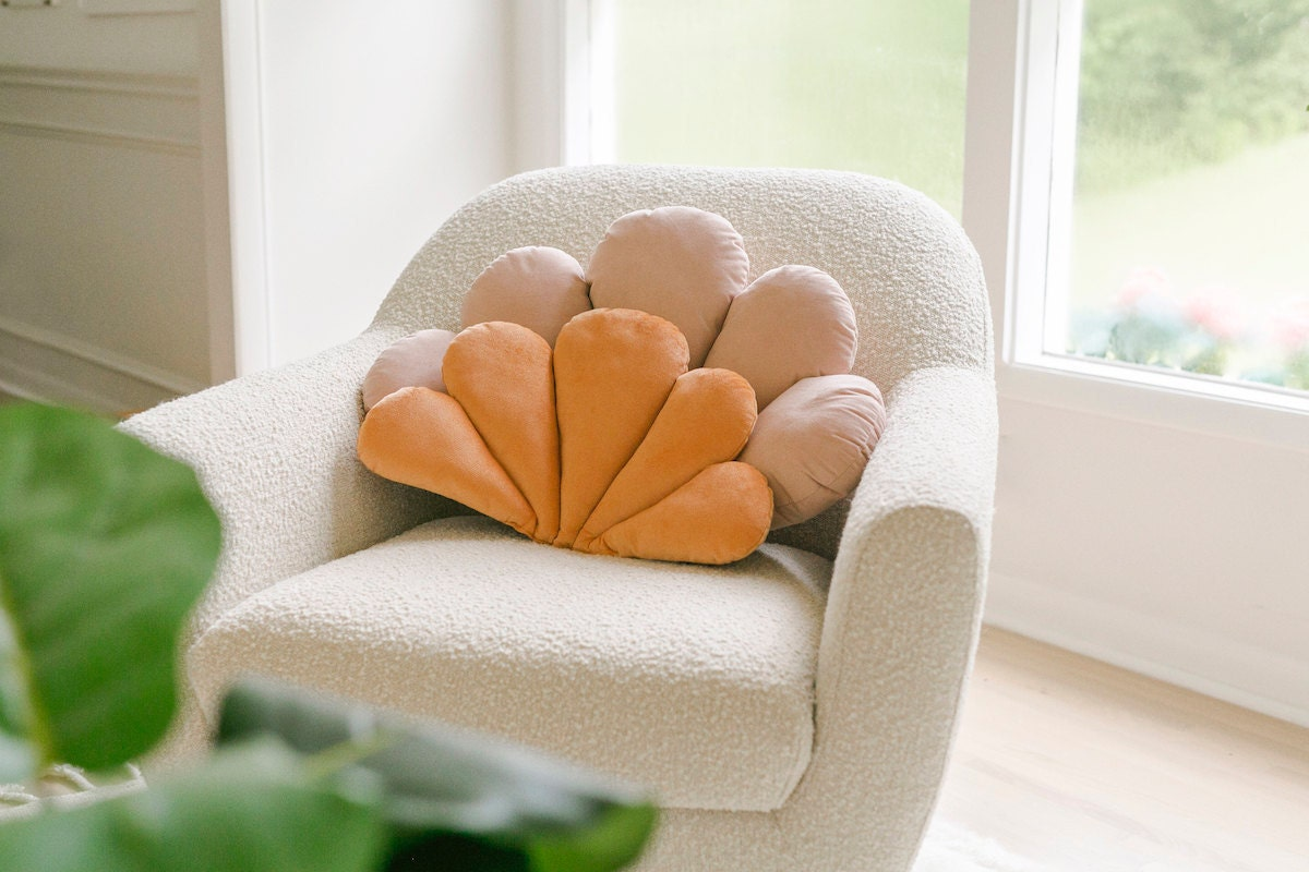 Shell-shaped pillows from the A Beautiful Mess x Etsy collection