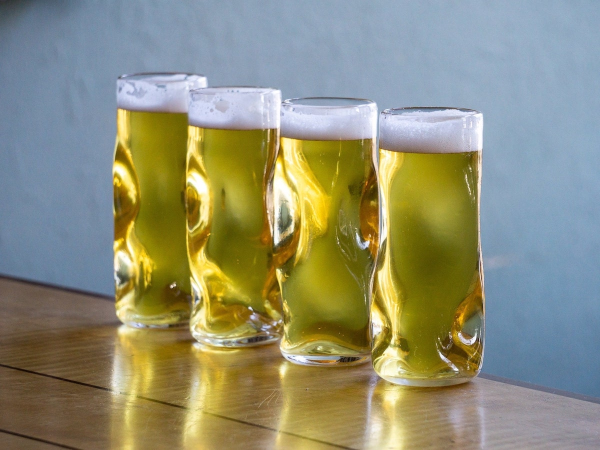 Handmade beer glass (set of four) from Pretentious Beer Glass, on Etsy