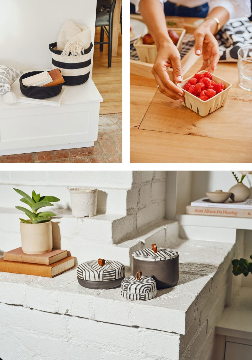 Woven baskets, ceramic berry baskets, and lidded ceramic jars from the Tia Mowry x Etsy collection