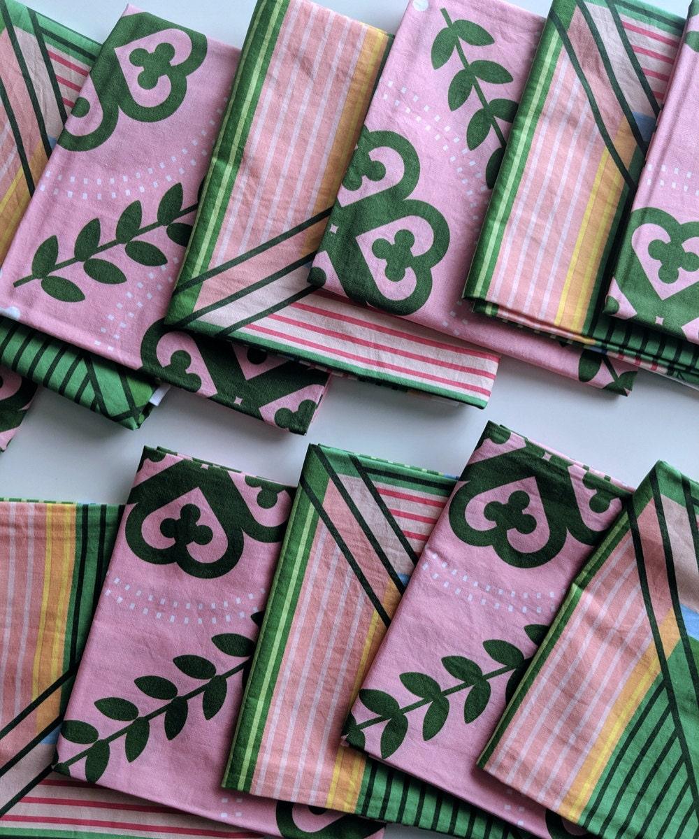 Closeup of pink bandanas.