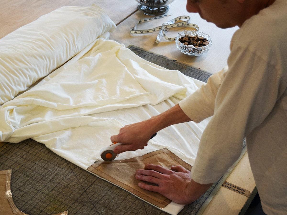 Object Apparel's Mike Sklenka cuts organic textiles